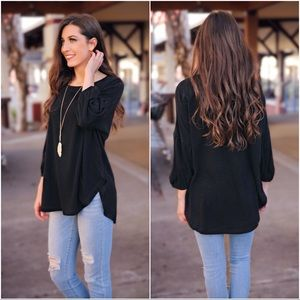 Black Puff Sleeve Tunic